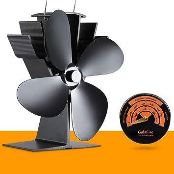 [ 2 años de garantía ] Ventilador de estufa para estufa leña/pellet/gas 4 aspas Altura Negra estufa leña pequeña + Accesorios de chimenea Termómetro de ...