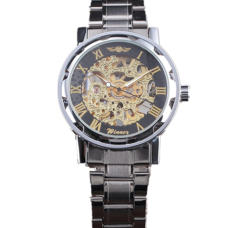 Winnerクラシックメンズスチールストラップダイヤルスケルトン機械スポーツArmy腕時計 B06Y5XV93F