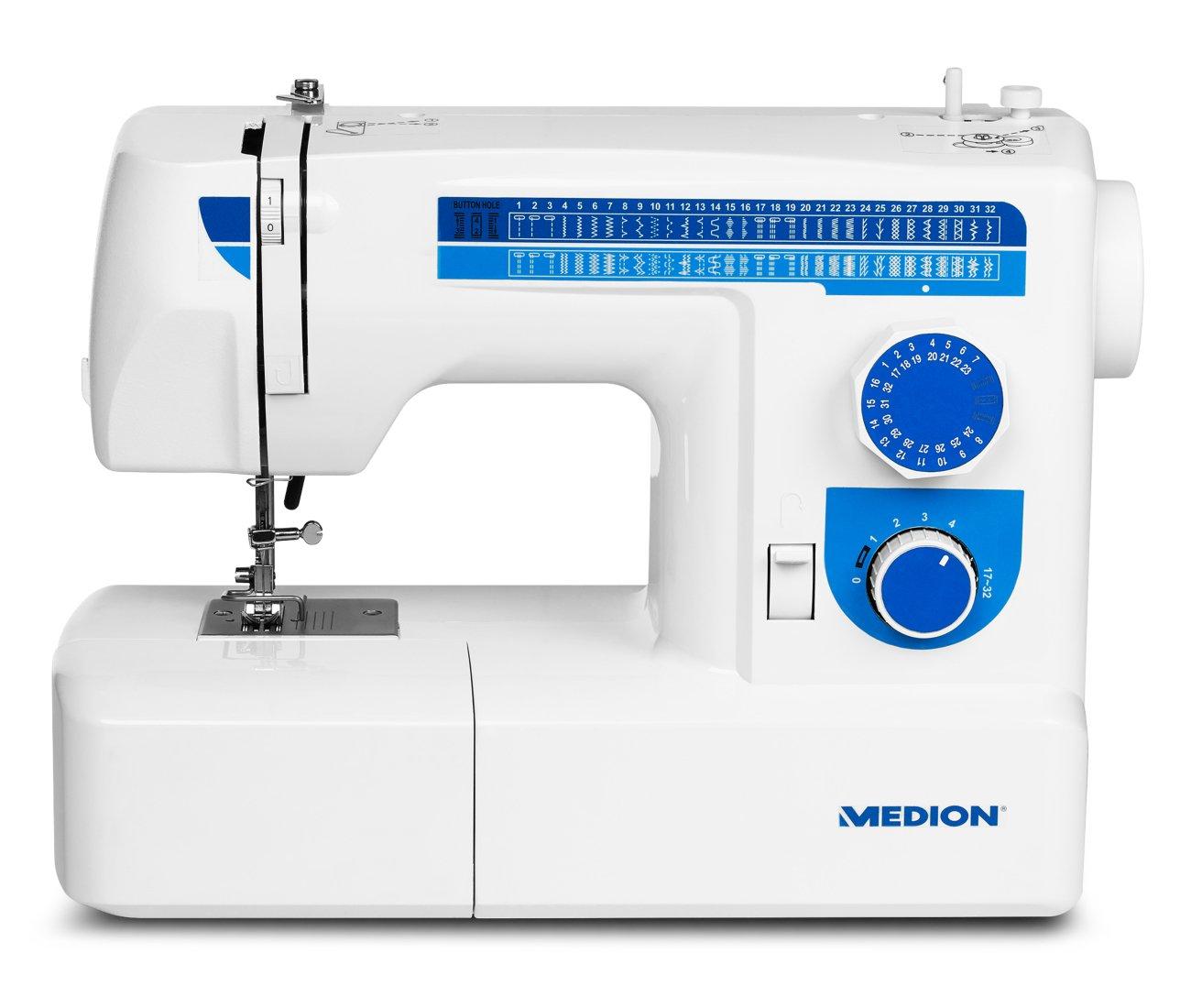 MEDION MD 17187 - Máquina de coser (Azul, Blanco, Máquina de coser semiautomática, Bordado, Overlock, Costura, Paso 4, Giratorio, 650 RPM): Amazon.es: Hogar