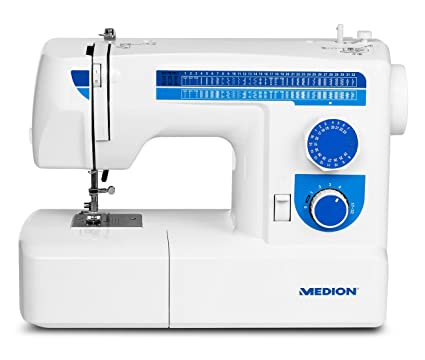MEDION MD 17187 - Máquina de Coser (Azul, Blanco, Máquina de Coser semiautomática
