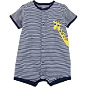Carter's Baby Boys' Striped Giraffe Applique Snap up Cotton Romper 9 Months