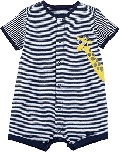 Carter's Baby Boys' Striped Giraffe Applique Snap Up Cotton Romper 9 - Sunglasses Carter's