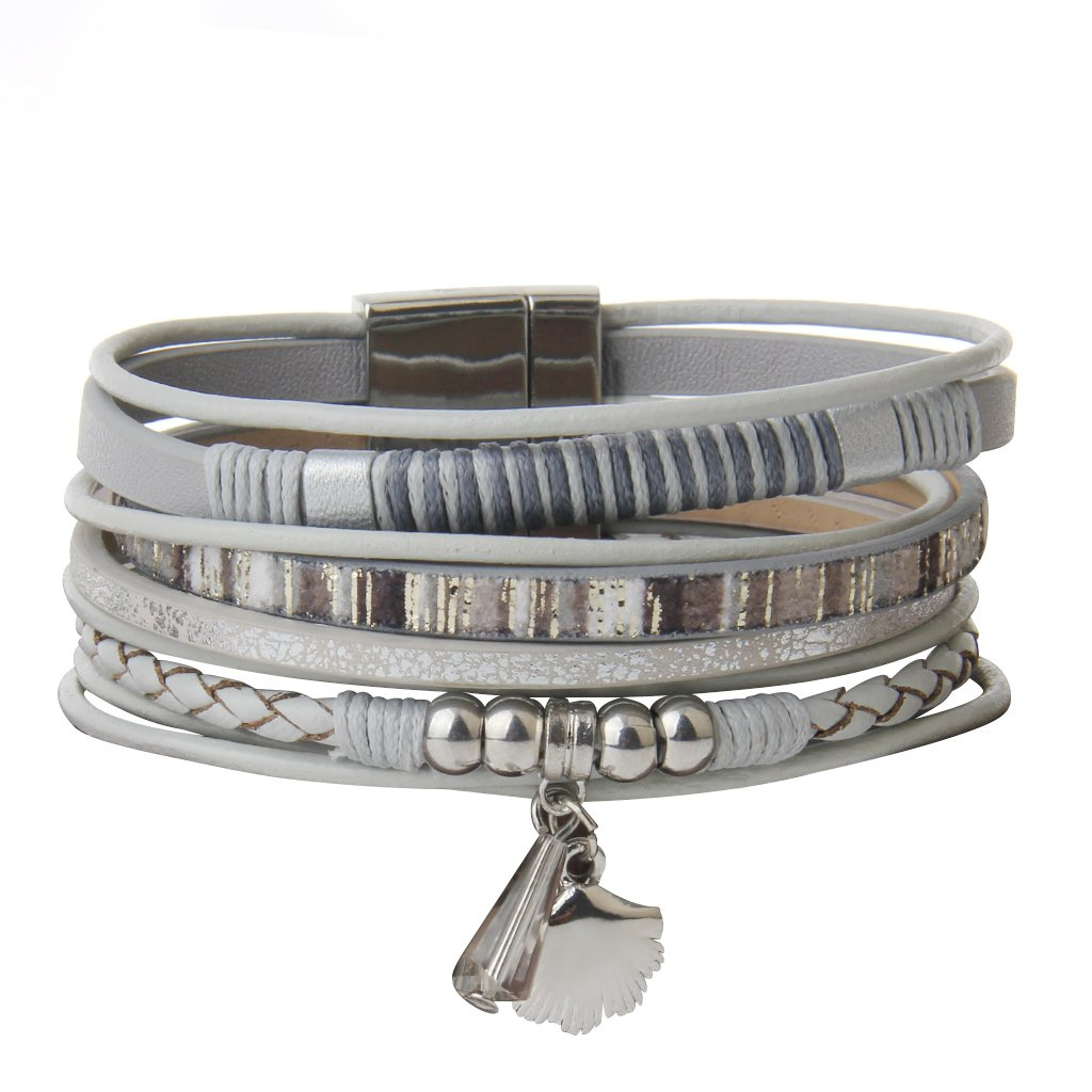 Grey Leather Ropes String Wrapped Shell Accent Cuff Bracelets - DeluxeAdultCostumes.com
