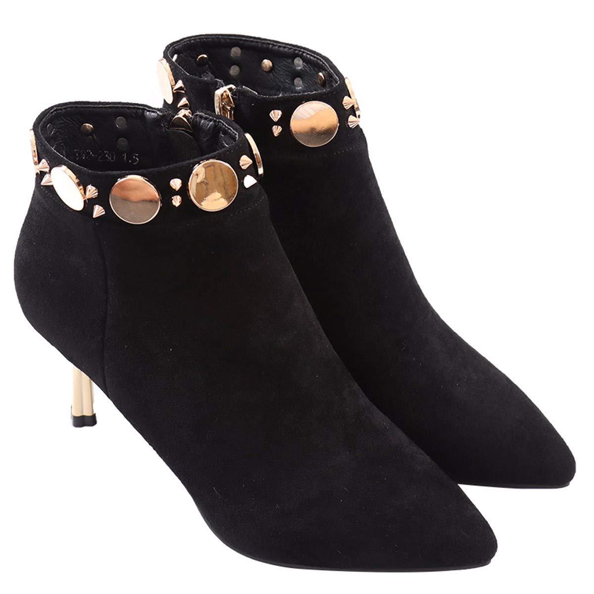 LBTSQ-Mode/Damenschuhe/Kurze Stiefel Mit Hohen 6 cm Winter Spitze Gut Bei Fuß Aus Samt Nieten Reißverschlüsse Ma Dingxue
