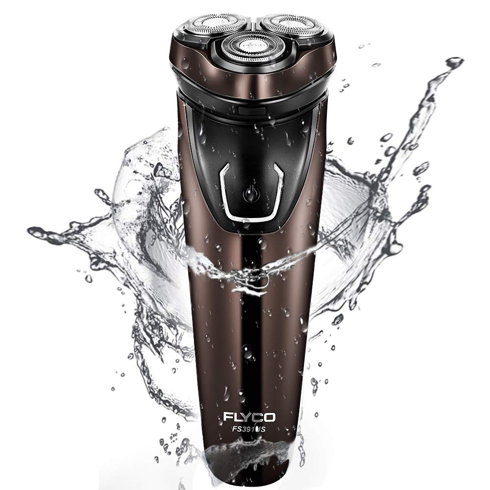 FLYCO Electric Razor for Men, Wet & Dry Waterproof FS391US, 3D Rotary Electric Shavers Rechargeable with Pop-up Trimmer, Digital Display & Travel Lock, Brown