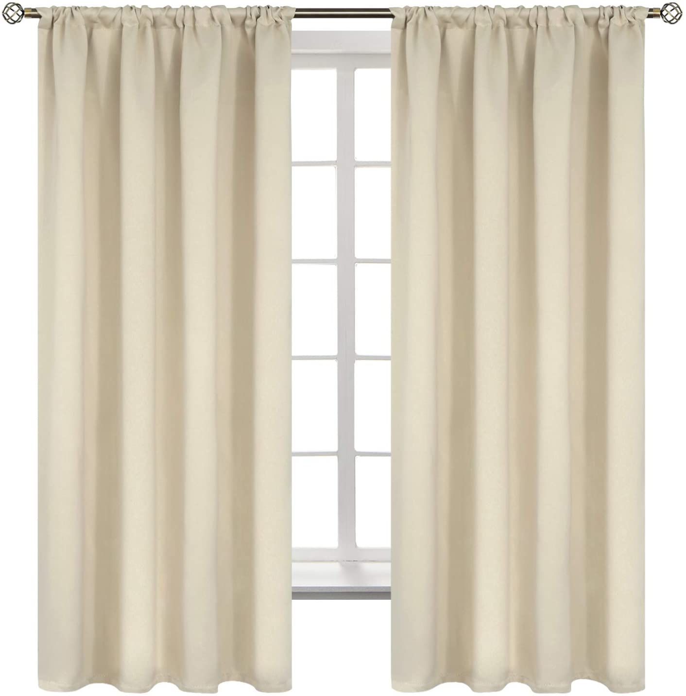 BGment Rod Pocket Blackout Curtains for Bedroom - Thermal Insulated Room Darkening Curtain for Living Room, 52 x 63 Inch, 2 Panels, Beige