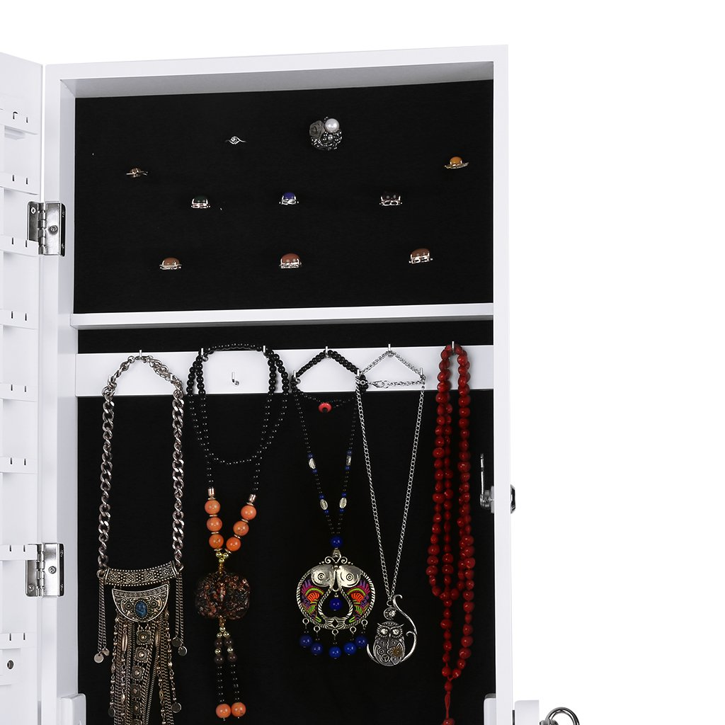 LANGRIA Mirrored Jewelry Cabinet Organizer, Full Length Standing Jewelry Storage Armoire with 2 Drawers and 3 Adjustable Angle, White Finish by LANGRIA (Image #9)