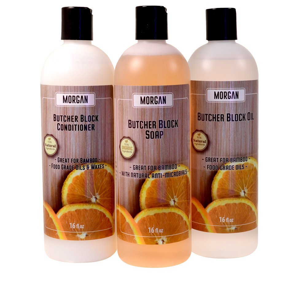 All Natural Butcher Block Essential Care Kit - Cutting Board Oil (16 oz), Soap (16 oz) & Conditioner (16 oz)