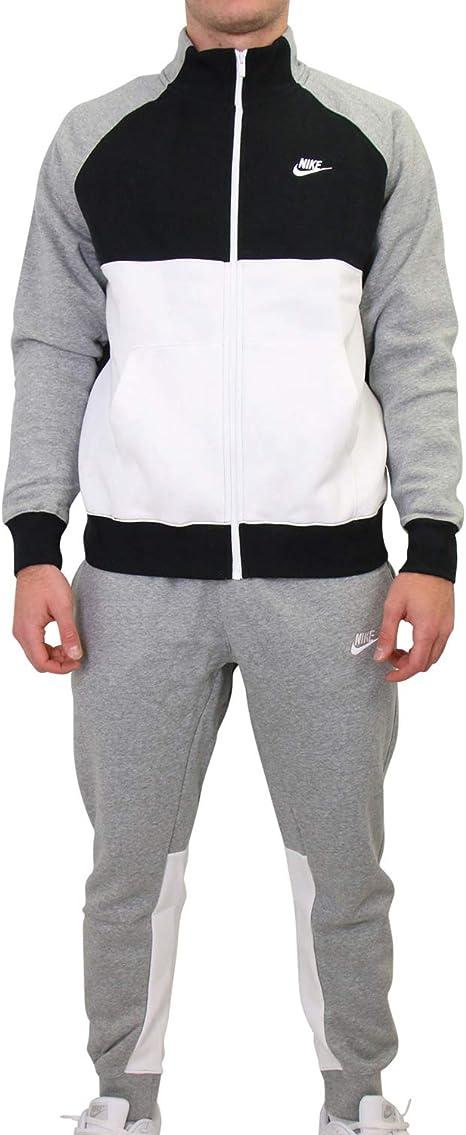 NIKE M NSW CE TRK Suit FLC Chándal, Hombre, dk Grey Heather/Black/White/(White), S: Amazon.es: Deportes y aire libre