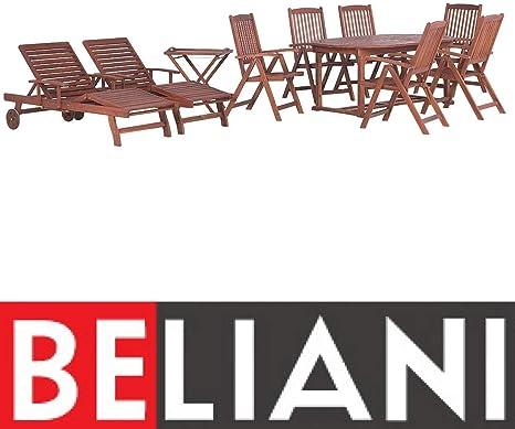Set da Giardino in Legno con Tavolo Ovale 2 lettini e 6 sedie
