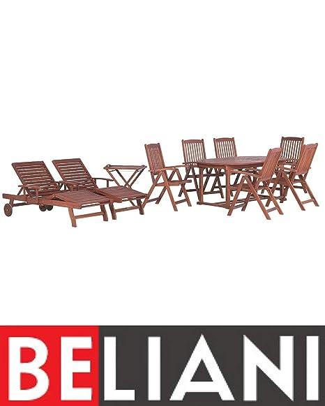 Beliani Garden Set - Juego de mesa de 8 plazas (2 mesas, 2 ...