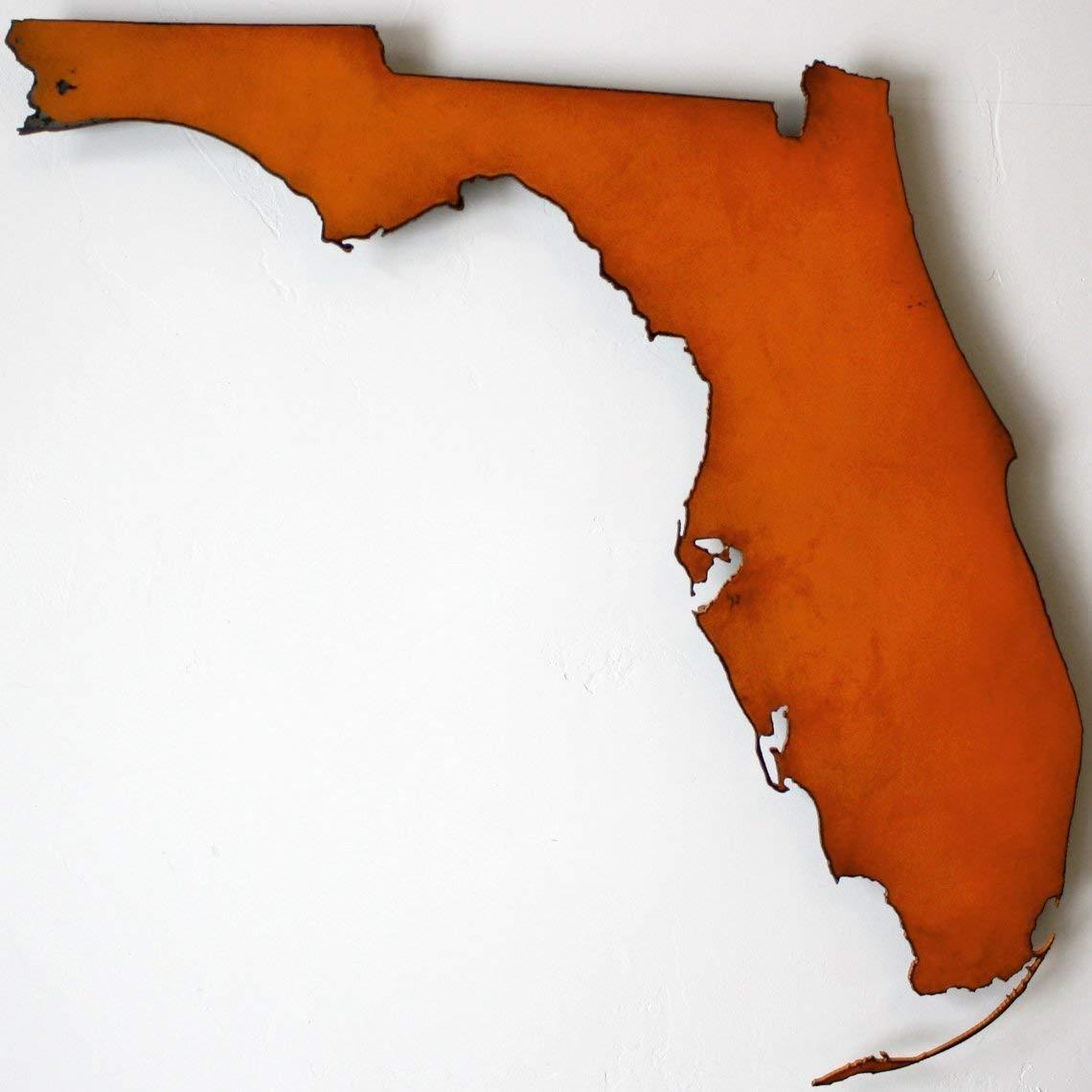0318-20' tall - Florida map metal wall art - Handmade - Choose your patina color