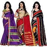 Trendz Combo Pack of Two Saree(Combo_Maliya_Purple_Arun_Red_Patta_Red)