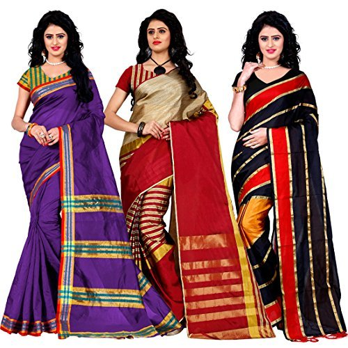 Trendz Combo Pack of Two Saree(Combo_Maliya_Purple_Arun_Red_Patta_Red)