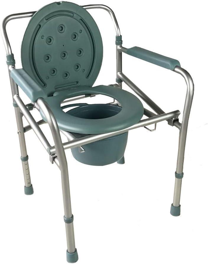 Mobiclinic, Mar, Silla con WC o inodoro para discapacitados, minusválidos, ancianos, Plegable, Reposabrazos, Asiento ergonómico, Aluminio, Conteras antideslizates