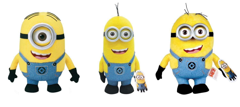 Mondo Thinkway Juguetes 2507600B - Minions Originales - 3 Personajes de Felpa en un Conjunto, Alrededor DE 22 - 27 cm