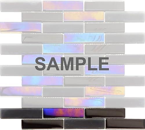 Black Crystal Glass Mosaic Tile Metallic Matte Herringbone Kitchen Backsplash