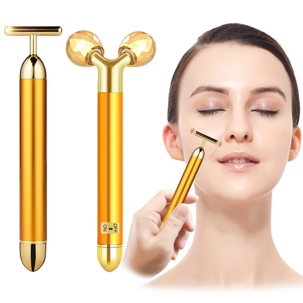2-IN-1 Beauty Bar 24k Golden Pulse Facial Face Massager, Electric Waterproof 3D Roller and T-Shape Forehead Cheek Neck Eye Nose Massager for Sensitive Skin Face Lift Tightening Firming by DANGSHAN