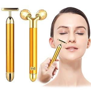 2-IN-1 Beauty Bar 24k Golden Pulse Facial Face Massager, Electric Waterproof 3D Roller and T-Shape Forehead Cheek Neck Eye Nose Massager for Sensitive Skin Face Lift Tightening Firming