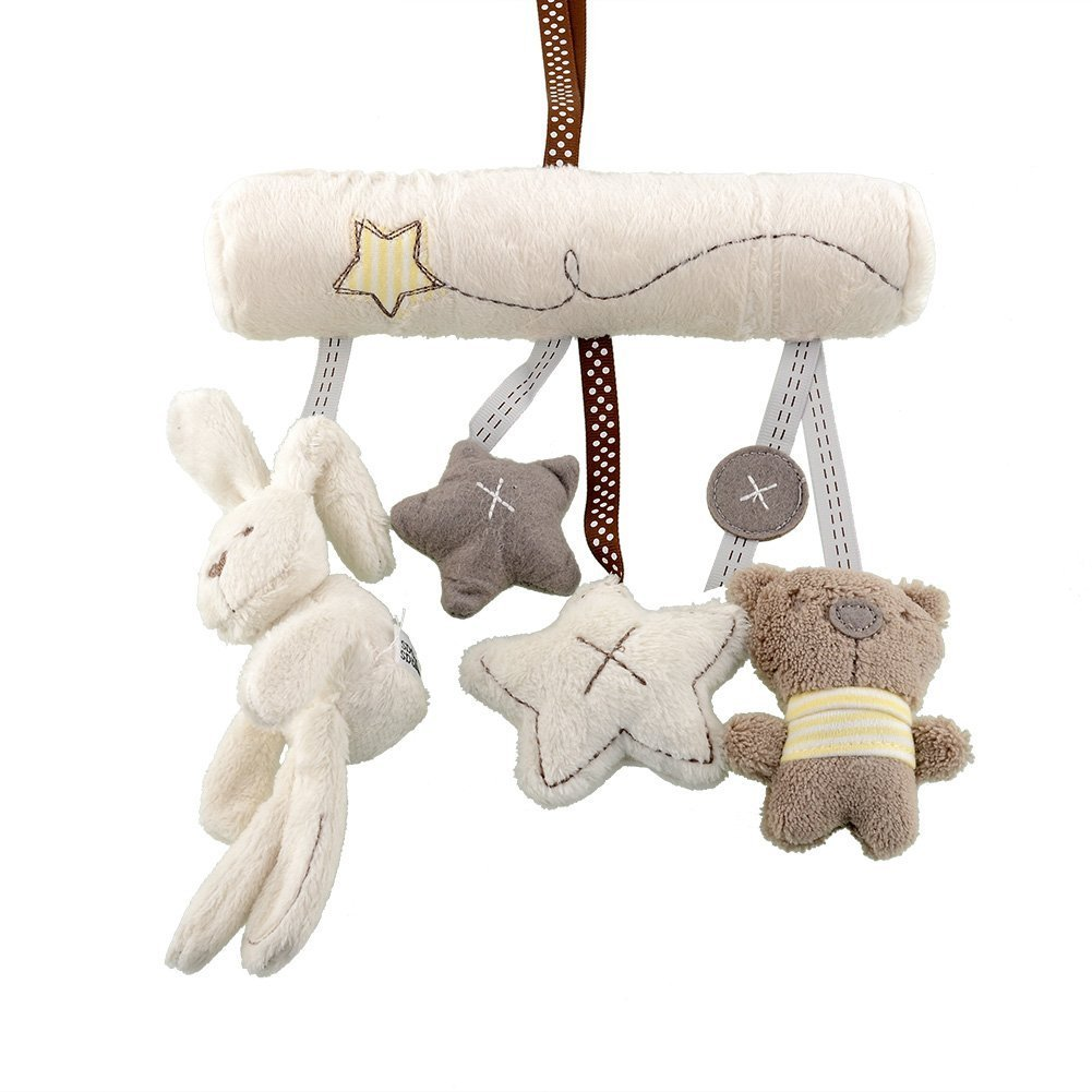 teambuckle 2015 Hot New Soft Lovely Plush Infant Baby Kids Stroller Car Pram Cot Bed Hanging Musical Rattle Rabbit Toy by teambuckle   B01HA8ZZGI