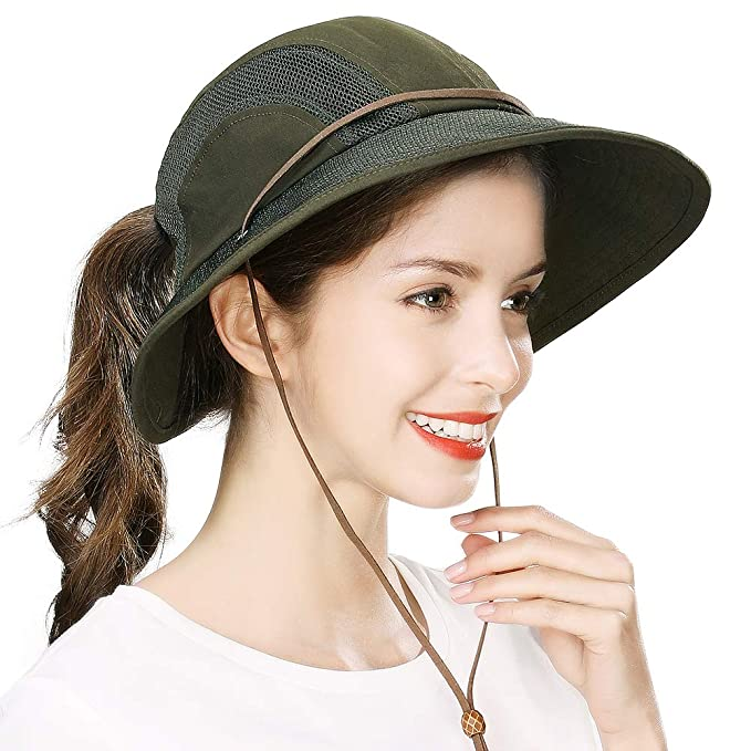 42c5a062a Fancet Womens Packable Mesh Ponytail Bucket Hat Wide Brim SPF50 Outdoor  Safari Beach Summer Sunhat Army