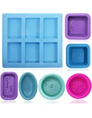 FineGood - Moldes de silicona para hacer jabón (13 unidades), color azul, rojo, morado y verde