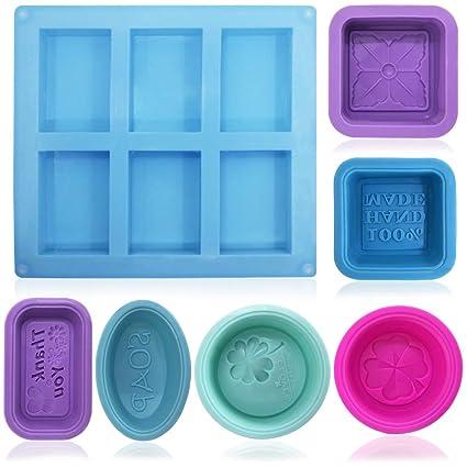 FineGood - Moldes de silicona para hacer jabón (13 unidades), color azul,