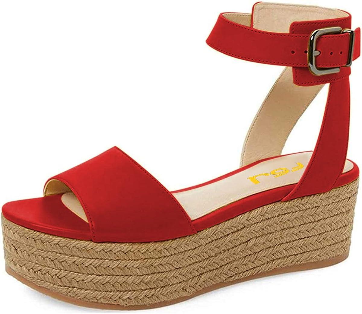 Womens Summer Wedges Espadrilles Sandals Ladies Ankle Strap Platform Shoes Size