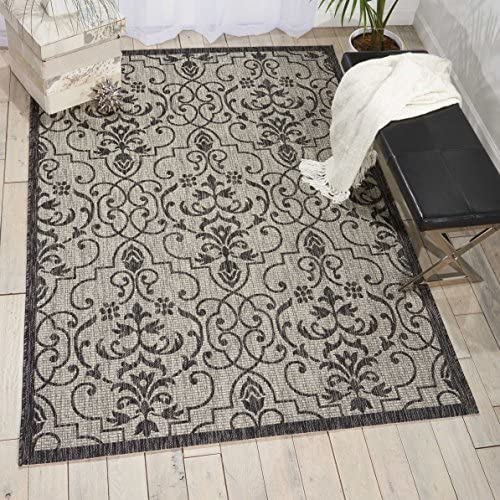 Nourison Garden Party Ivory Charcoal Indoor Outdoor Area Rug 9 Feet 6 Inches by 13 Feet, 9 6 X13