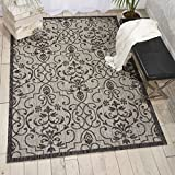 Nourison Garden Party GRD04 Ivory/Charcoal Indoor/Outdoor Area Rug 5 Feet 3 Inches by 7 Feet 3 Inches, 5'3''X7'3''