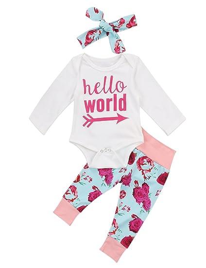 1ab09127b99 Newborn Baby Girls 3 Pieces Set Long Sleeve Bodysuit Floral Pants Hello  World Outfits Headband (