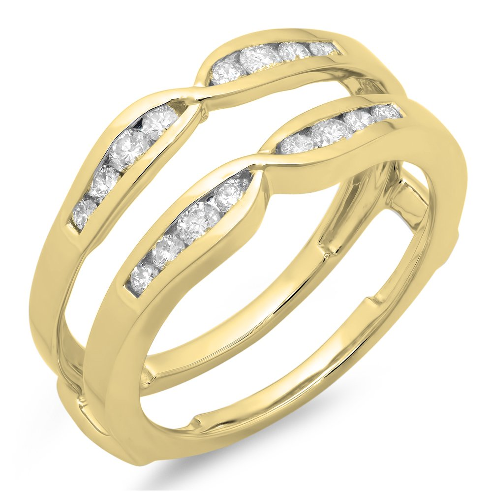 Dazzlingrock Collection 0.45 Carat (ctw) 14K Round Diamond Ladies Anniversary Guard Double Ring 1/2 CT, Yellow Gold, Size 7
