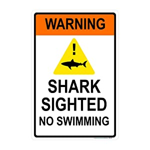 """Warning, Shark Sighted No Swimming Sign, Includes Holes, Non-Reflective 3M Quality, Laminated-Durable-Aluminum 12""""x18"""" Made in USA"""