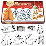 Christmas Cookie Cutters CFTech Set of 8 Stainless Steel 3D Cake Baking Molds Biscuit Tool Holiday Xmas Scenario Shapes including Snowman, Chritmas tree, Jingle Bell, Angel etc