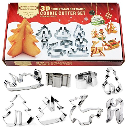 Christmas Cookie Cutters CFTech Set of 8 Stainless Steel 3D Cake Baking Molds Biscuit Tool Holiday Xmas Scenario Shapes including Snowman, Chritmas tree, Jingle Bell, Angel etc by CFTech