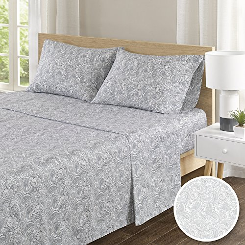 (100% Hypoallergenic Cotton Sheets Set - Soft Paisley Cal King Bed Sheet With Deep Pocket - Grey Bedding Sets 4 Pieces [ 1 Fitted Sheet,1 Flat Sheet, and 2 Pillow Cases ] Cal King Size Sheets)