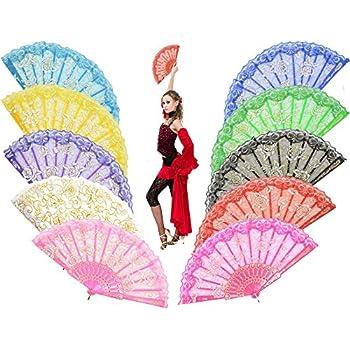 "Amazon.com: Leehome ""Rose Lace"" Folding Hand Held Fans"