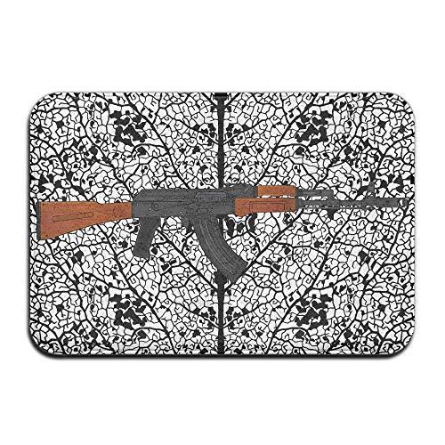 """Non Slip Door Decorative Garden Office Bathroom Mat Outdoor, Wood Sniper Rifle Outdoor Rubber Mat Front Door Mats Porch Garage Large Flow Slip Entry Carpet Standard Rug Home 23.62"""" 15.74"""""""