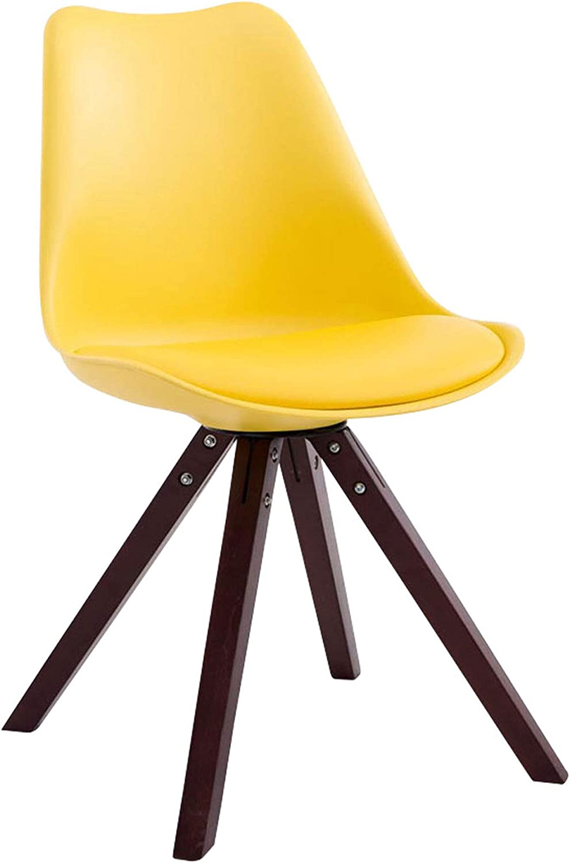CLP Retro Stuhl Toulouse Square Mit Kunstlederbezug | Kunstoff Lehnstuhl Mit Holzgestell, Farbe:gelb, Gestell Farbe:Cappuccino (Eiche)