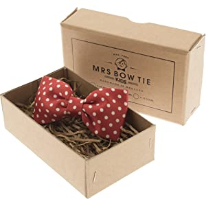 Mrs Bow Tie Dotty Junior Ready-Tied Bow Tie - Red 2-5 Years
