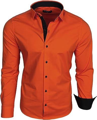 Baxboy B-500 - Camisa de manga larga para hombre, para negocios, tiempo libre, bodas, plancha, ajustada naranja oscuro M: Amazon.es: Ropa y accesorios