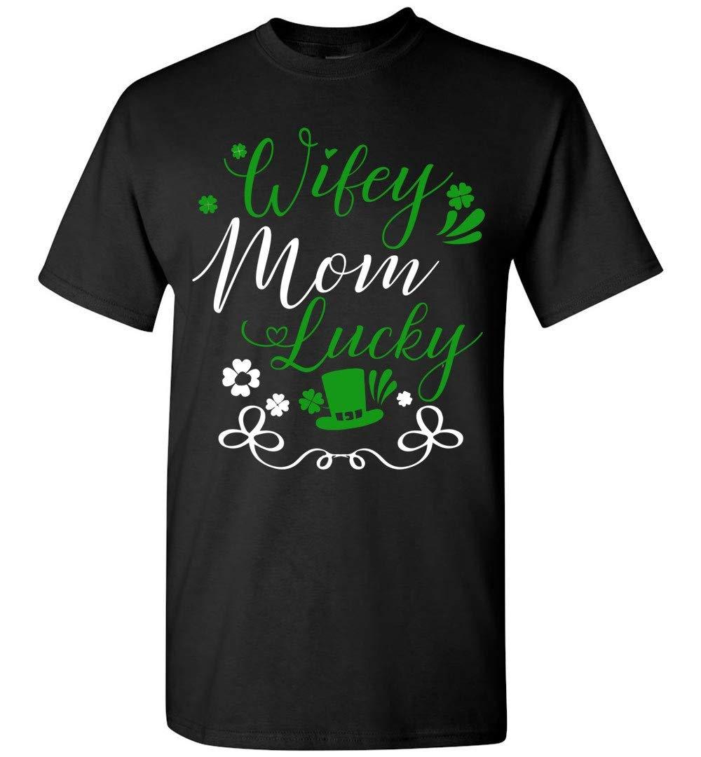 St Patrick Day Mom Shirt Wifey Mom Lucky Irish Hat Short Sleeve T Shirt 4944