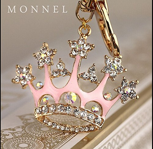 Crown Design Metal Key Chains - New Arrival Adorable Pink Queen Crown Crystal Big Key Ring Keychain Z639-B