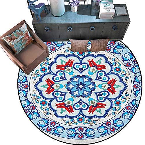 - Antique Print Area Rug Ottoman Turkish Style Art with Tulip Period Ceramic Floral Elements European Print Home Decor Foor Carpe (63