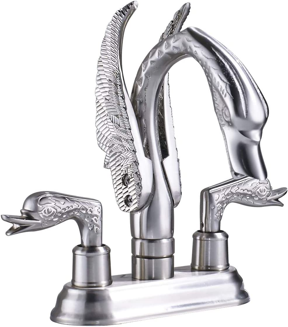 Rozin 4-inch Centerset Swan Shape Bathroom Sink Faucet Two Handles Vessel Basin Mixing Tap Brushed Nickel