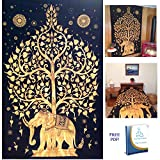 Your Spirit Space (TM) Black/Gold Good Luck Elephant Tapestry-Tree of Life. Quality Home or Dorm Hippie Wall Hanging. The Ultimate Bohemian Tapestry Decoration