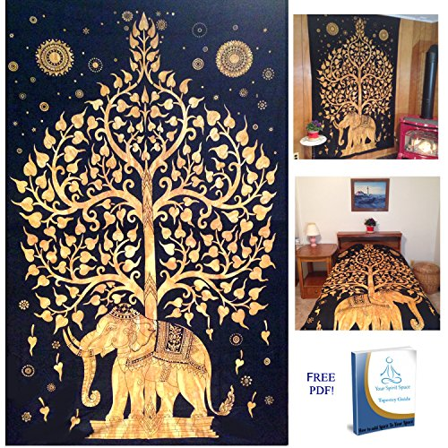 Your Spirit Space (TM) Black/Gold Good Luck Elephant Tapestry-Tree of Life.  Quality Home or Dorm Hippie Wall Hanging. The Ultimate Bohemian Tapestry ...