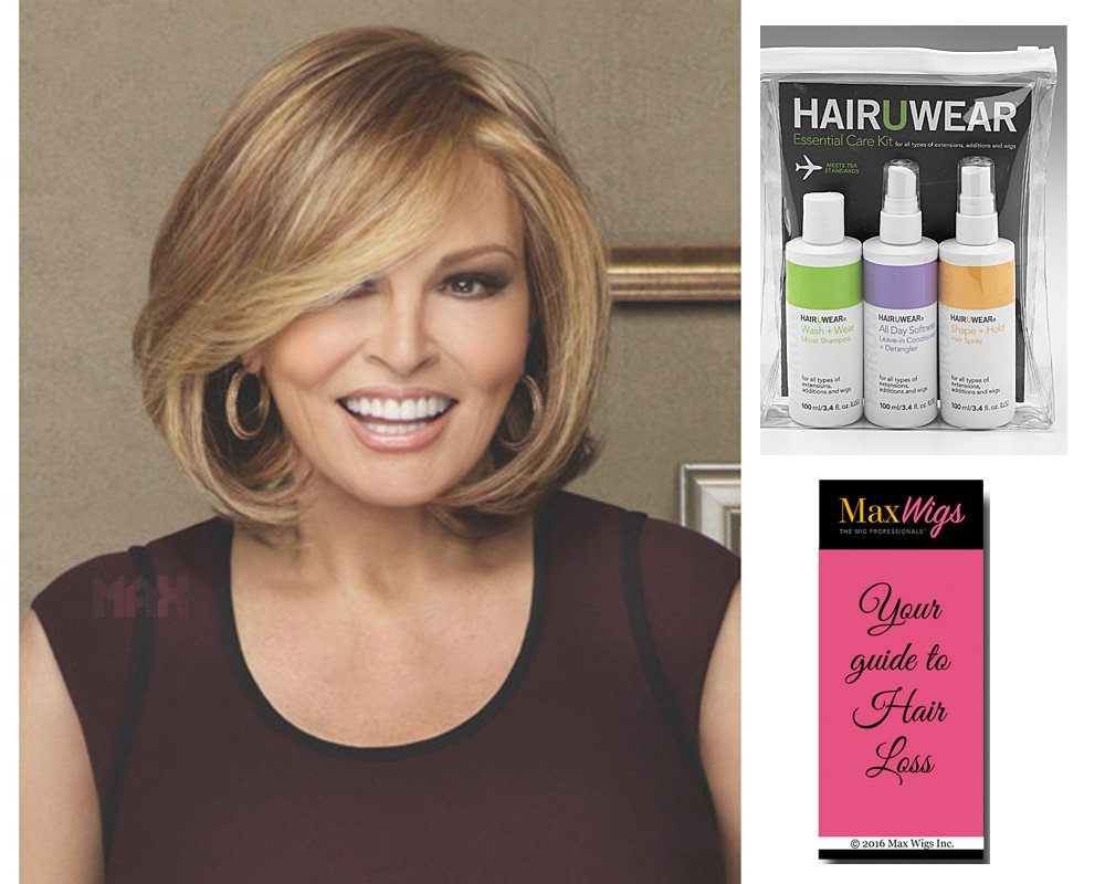 Bundle 3 Items: Upstage Monofilament Lace Front Raquel Welch Wigs, HairuWear Travel Kit, MaxWigs Hair Loss Booklet, RL19/23SS