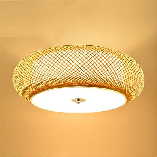 MEIHOME Lámpara de techo De bambú y de ratán Circular Art ...