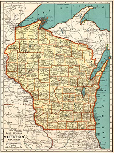1938 Antique Wisconsin State Map Original Vintage Map of Wisconsin Not a Reprint Home Office Decor Gallery Wall Art - Map Antique Wisconsin